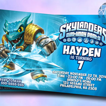 Skylanders snapshoot water Design For Birthday Invitation on SaphireInvitations