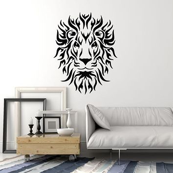 Vinyl Wall Decal Lion Head Predator King Tribal Zoo Animal Stickers Mural (g451)