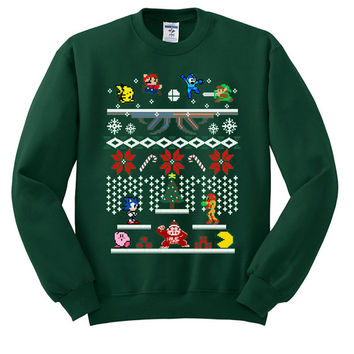 Super Smash Bros Ugly Christmas Sweater sweatshirt unisex adults size S-2XL