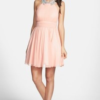 Way-In Embellished Neck Chiffon Halter Dress (Juniors) (Online Only)
