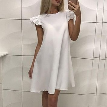 2019 Woman Clothes Casual Cute Women Dress Loose Solid Short Sleeve Beach Party Dress women Summer Above Knee Mini Dress