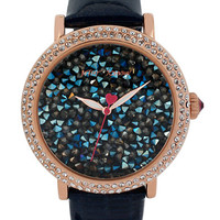 Betsey Johnson Ladies Gold Tone Embellished Leather Strap Watch