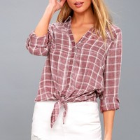 Just Chilling Washed Mauve Plaid Button-Up Top