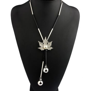 Lovely Maple Leaf Long Beaded Chain Tassel Pendant Necklace Women Office Lady Imitation Pearl Jewelry -0330