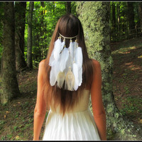 White, Clip, in, feather, veil, headband, native, american, style, hair, piece, hippie, bridal, bohemian, bride, wedding,  boho, rustic