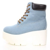 Blue Lace Up Chunky Platform Booties Denim