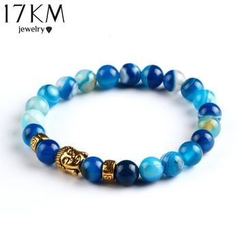 17KM Lava Stone Onyx Bead Buddha Bracelet Buddha Stone Black Yoga bracelets For Men Women Mujer Pulseras Fashion Jewelry