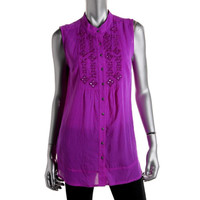 Style & Co. Womens Embroidered Sequined Button-Down Top