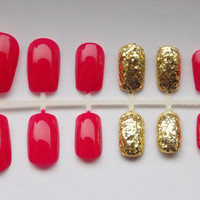 Hot Pink and Gold Glitter Fake Nails - False, Artificial, Acrylic, Press-On