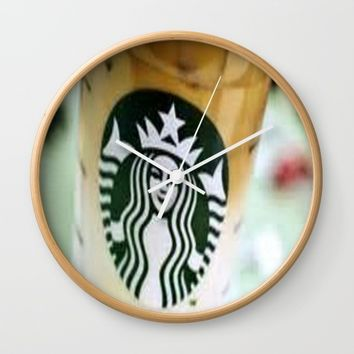 Iced Coffee Starbucks cup photo Wall Clock by Jessica Ivy