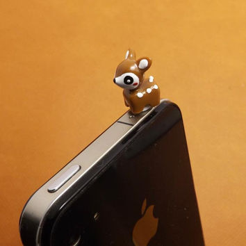 3D White Spots Brown Sika Little Deer Dust Plug 3.5mm Phone Accessories Charm Headphone Jack Earphone Cap for iPhone 4 4S 5 iPad HTC Samsung