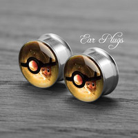 Pokeball   Silver steel stain ear gauge,  tunnel  plugs,Stainless Steel Screw Ear Gauges, 2g, 0g, 00g,/16,1/2, 5/8,3/4