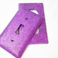 Glitter Single-Switch Light Switch Plate or Outlet Cover in Purple -- College Dorm -- Girl's Bedroom Decor - Great Gift