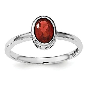 Sterling Silver Garnet Oval Bezel-Set Filigree Scroll Ring