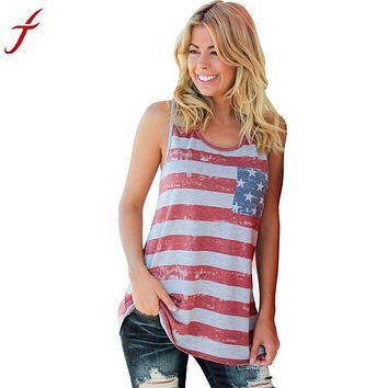 2017 Summer Top Women American Flag Stripe Printed Bowknot Tank Tops Casual Blusa Red T Shirt cropped