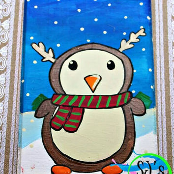 Penguin in disguise wall decoration, Penguin painting, Christmas in July, Reindeer decor, funny Christmas decor, Penguin plaque