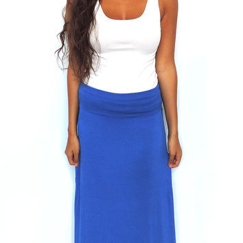 Knit Maxi Skirt - Cobalt