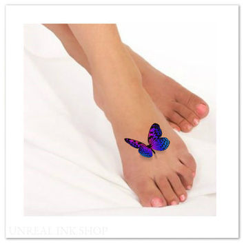 Temporary Tattoo 3D Butterflies Fake Foot Tattoo Flying Butterfly Thin Durable Realistic