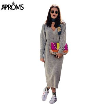 Aproms Soft Knitted Long Dress Women V Neck Long Sleeve Autumn Winter Maxi Dress Female Streetwear Dresses Robe Femme Vestidos
