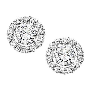 14K White Gold Rhythm of Love 1/2ct Diamond Stud Earrings