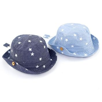 Star Print Baby Hat Denim Cotton Boys Girls Sun Hat Summer Kids Panama Hat Toddler Boys Bucket Hat