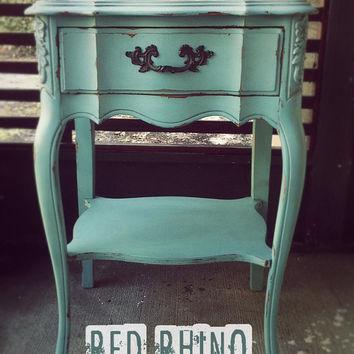 Pale Blue Yonder French Provincial Side Table // SOLD