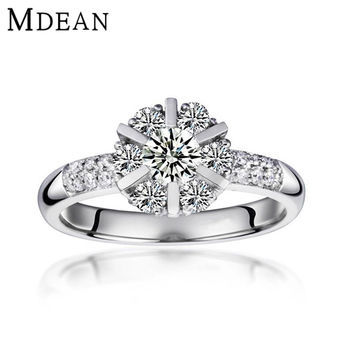 MDEAN wedding rings for women platinum plated vintage bague For lady Engagement Jewelry ring zirconia Accessories MSR033