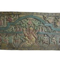 Vintage Hand Carved Wood Wall Hanging Sculpture India 72 X 36 Inches Ganesha Hand Carved Wood Wall Panel India 72 X 36 Inches
