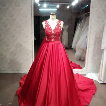 #LE1197 Sleeveless red lace ball gown from Darius Customs