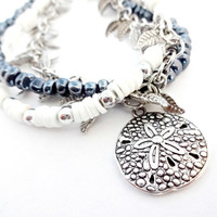 Nautical Silver Sand Dollar Bracelet, Navy Blue and White Seed Bead Bracelet, Summer Jewelry