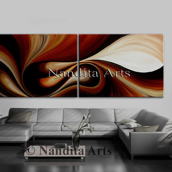 "Large ABSTRACT OIL PAINTING, Original Brown Modern Art on Canvas, Contemporary Art 72"" Abstract Oil Art Wall Hanging, Home Decor, Wall Art"