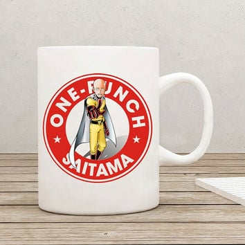 One Punch Man Saitama Starbucks Anime Manga Oppai Ceramic 11oz mug