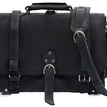 Messenger Bag Leather Briefcase Backpack MEDIUM - Charcoal Black Distressed, Rugged