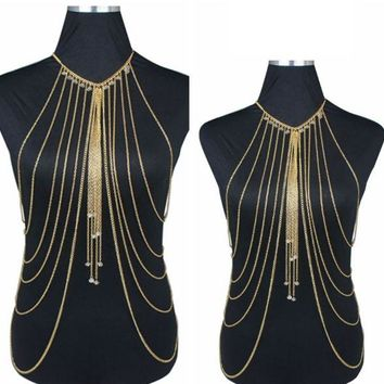 ONETOW Exaggerated multi-layer crystal body chain necklace