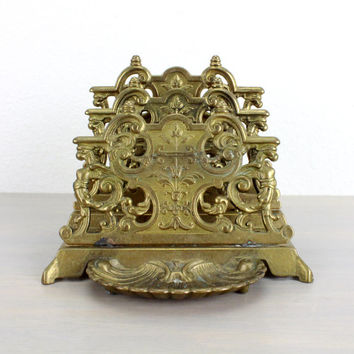 Brass Letter Tray, Mail Holder, Napkin Holder, Change Tray, Vintage, Ornate