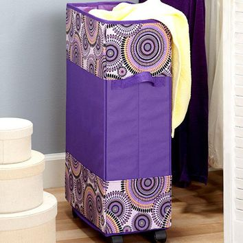 Portable Space Saving Rolling Laundry Hamper Basket Tall Slim Dorm Kids Teens