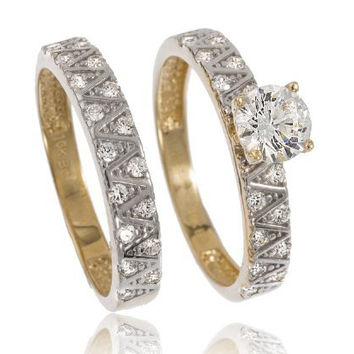 10k Yellow Gold 2 Piece Four Prong Engagement Ring Set Cubic Zirconia Stones ...