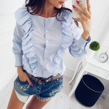 2017 Autumn women Sweet pleated Long sleeves shirts Female Ladies Blusas Casual O-neck Ruffles Tops Blue Stripes Blouses