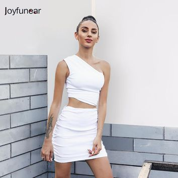 New fashion women Irregular miter  white two pieces dress  women sexy mini party bandage Dresses One Shoulder Bandage Dress