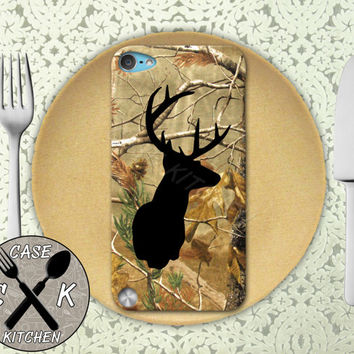 Black Deer Head Antlers Wood Tree Camo Hunting Cool Custom Rubber Case iPod 5th Generation and Plastic Case For The iPod 4th Generation
