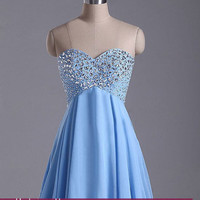 New Custom-made Prom Dresses, Strapless Short Blue Prom Dresses Homecoming Dresses 2014 with Lace Up Back