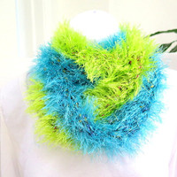 Warm fur cowl, green and blue crochet fur infinity scarf, gift under 50