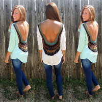 3/4 Sleeves Backless Flower Print Bohemian Sexy Blouse
