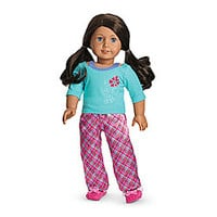 American Girl® Clothing: Petals & Plaid PJ's for Dolls + Charm