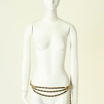 """CHANEL Vintage gold metal multi chain chainmail buckle belt M 30-33"""""""