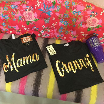 Gold Foil on Charcoal V Neck Mama heart t-shirt