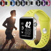 YIFALIAN watch band for apple watch series 1 2 with Light Flexible Breathable silicone strap For Nike sport band