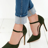 Got it Bad Olive Green Suede Ankle Strap Heels