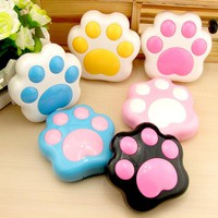 Cartoon Cute Dog Paw Contact Lens Case Storage Box Plastic Mini Contact Lenses Box Container Holder With Mirror Storage