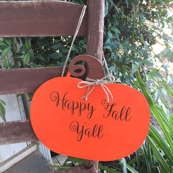 Personalized Wooden Pumpkin Door Hanger